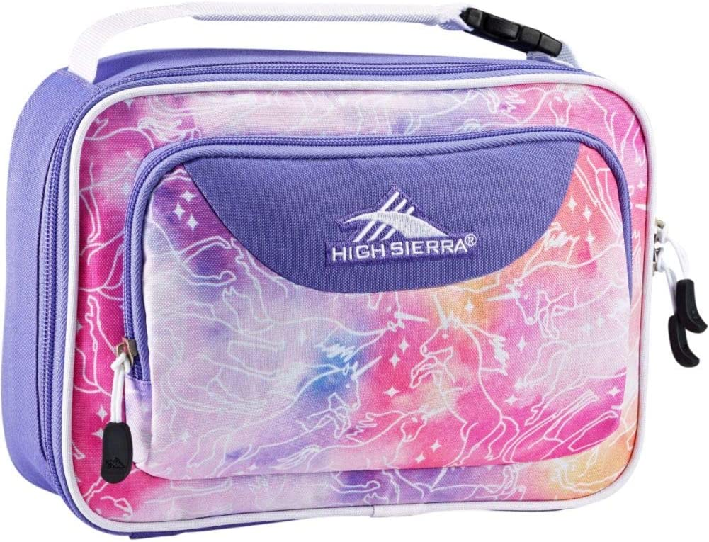 High Sierra Single Compartment Lunch Bag, One Size, Unicorn Clouds/Lavender/White