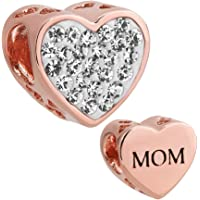 I Love Mom Heart Jewelry Charm Clear Birthstone Crystal New Bead For Bracelets (Rose Gold)