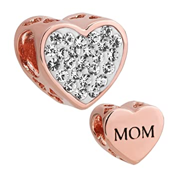 a86983a29f264 Charmed Craft New Rose Gold Plated Mom Heart Charms Clear Birthstone ...