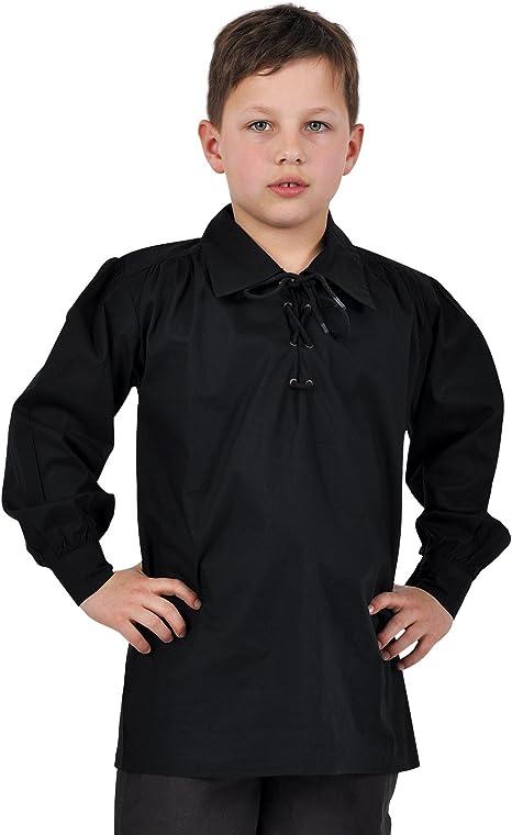 Camisa medieval infantil - traje de pirata o caballero - de ocio - algodón - negra - 9/11 Jahre: Amazon.es: Ropa y accesorios