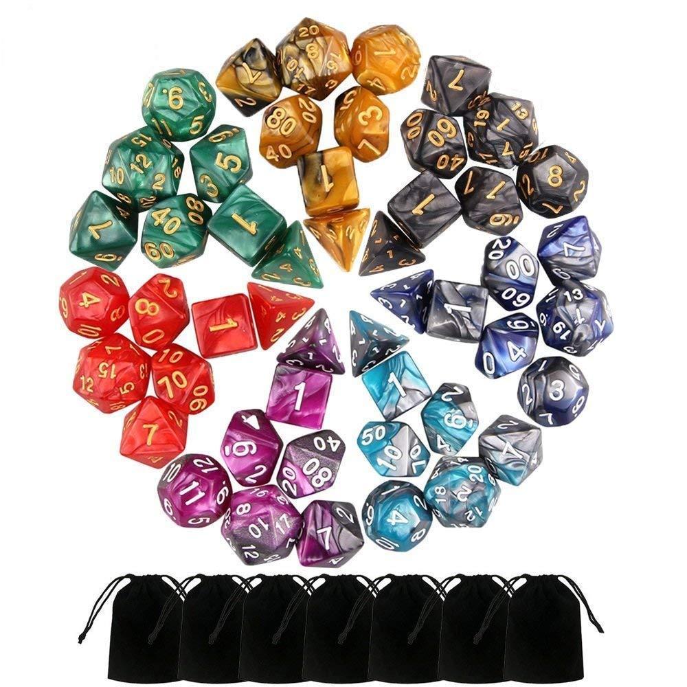Malloom 49 PCS Double-Colors Polyhedral Dados para Mazmorras y Dragones Juegos de Mesa Poliedro Bicolor