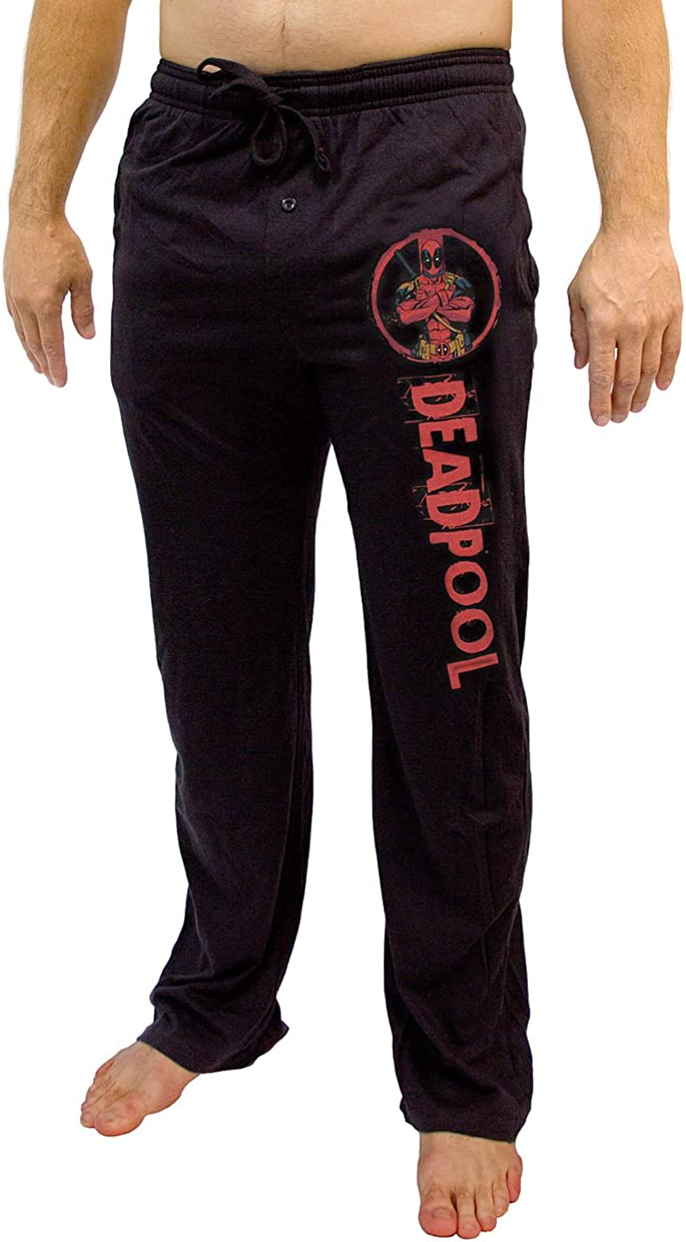 Marvel Comics Deadpool Graphic Men's Black Sleep Pants