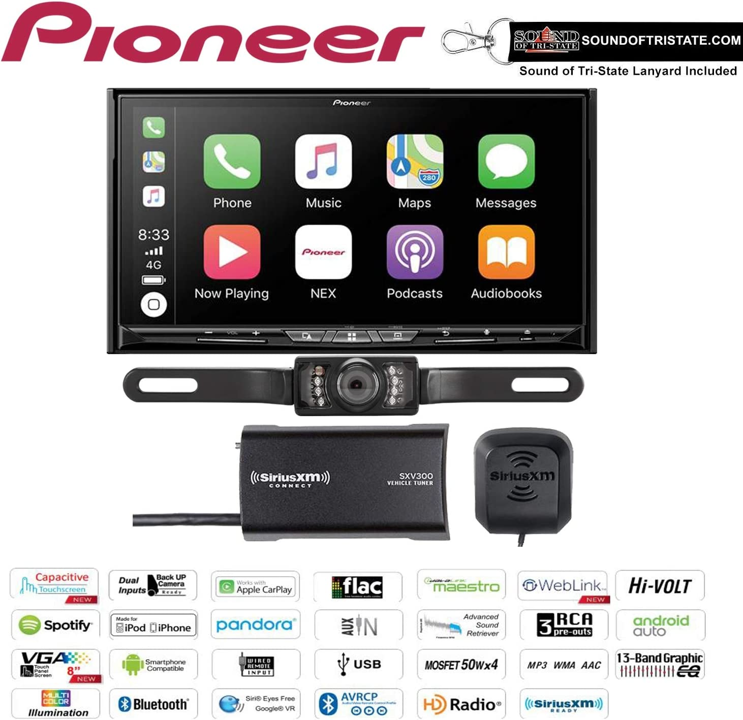 """Pioneer AVIC-W8500NEX in Dash 6.94"""" DVD Navigation Receiver with SiriusXM SXV300V1 Satellite Radio Tuner and Antenna and a License Plate Backup Camera and a Sound of Tri-State Lanyard Bundle"""