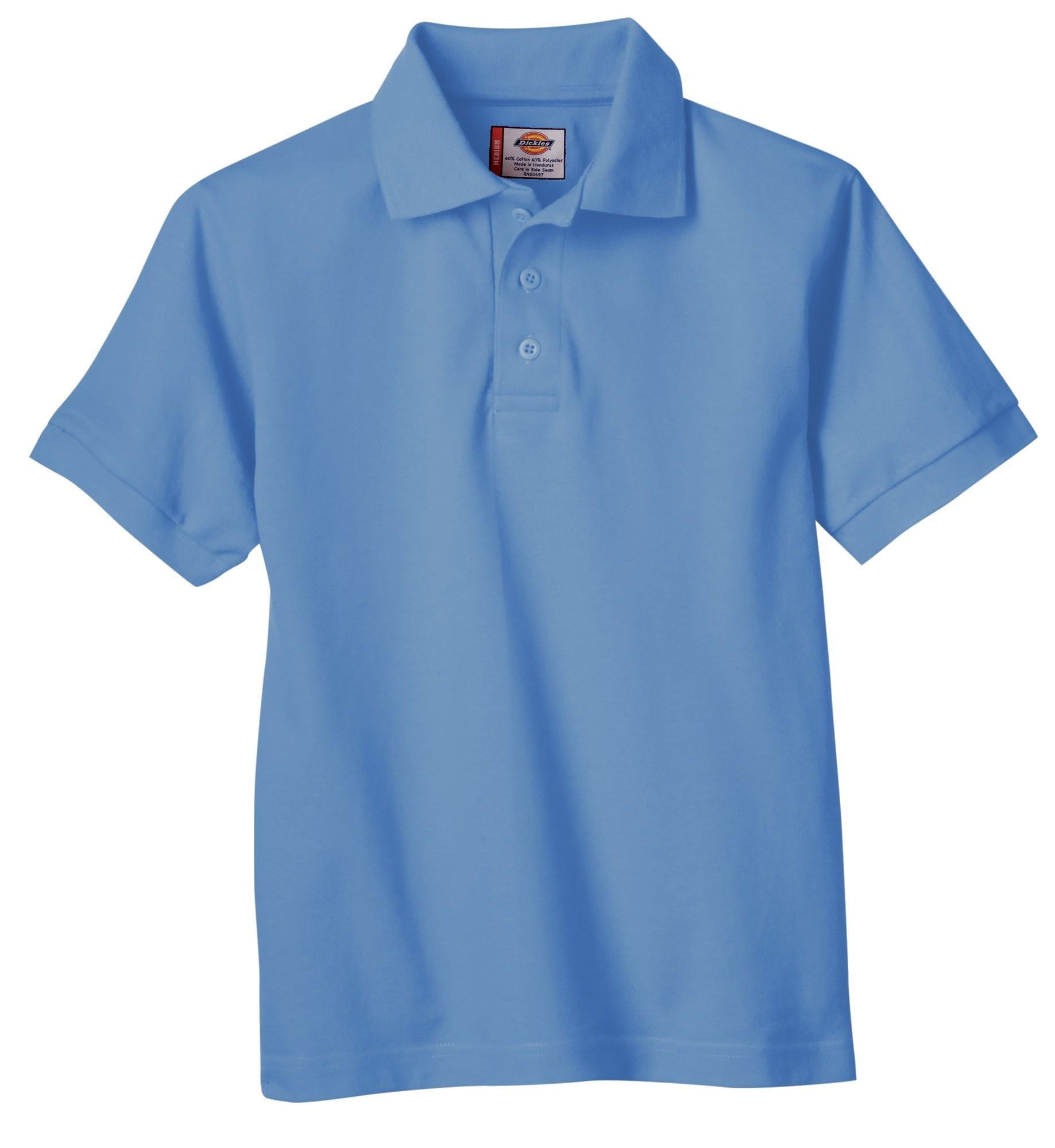 Dickies Big Boys' Short Sleeve Pique Polo Shirt, Light Blue, Large (14/16)