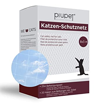 PiuPet® Red de Balcón para Gatos (Transparente), Incluye Cuerda de ...
