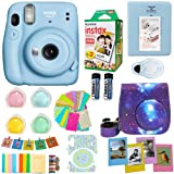 Fujifilm Instax Mini 11 Blue Camera + Fuji Instant Instax Film (20 Sheets) Includes Galaxy Camera Case + Assorted Frames…
