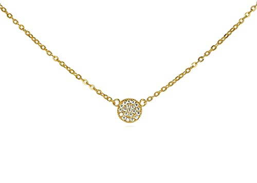 GlitterLounge Tiny CZ Pave Disk Circle Necklace .925 Sterling Silver Gold Tone Finish Adjustable Chain 16 – 18