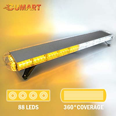 "CUMART 47"" 88 LED Amber White Extreme High Intensity Construction Emergency Warning Strobe Light Bar Rooftop Low Profile Law Enforcement Hazard Flashing For Tow Truck Vehicle Universal: Automotive"