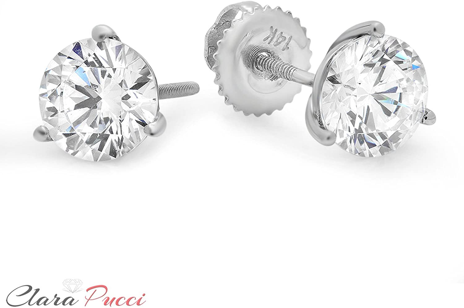 .925 Sterling Silver Round Prong Cubic Zirconia Martini Setting Stud Earrings