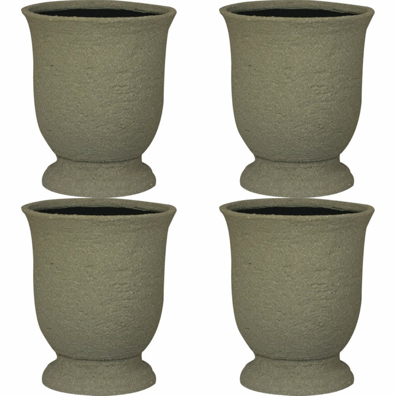 Stone-Like Durable Urn Planter - UV, Weather and Impact Resistant - 11'' Dia - set of 4 (Lime Stone) by WILLIAMS BAY PRODUCTS