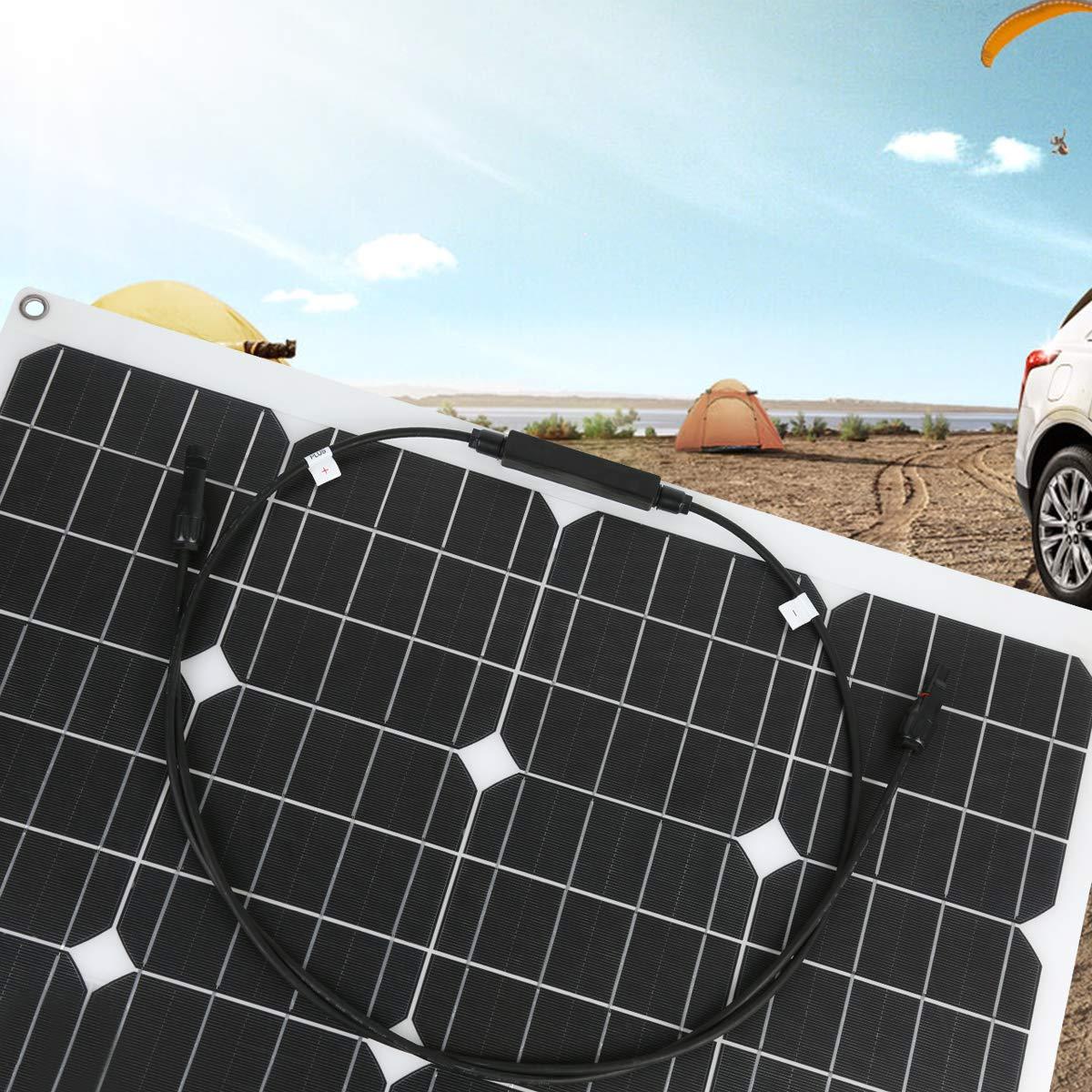 Car 12v Battery or any Other Irregular Surface Tent Betop-camp 50W Flex Semi-Flexible Monocrystalline PV Solar Panel for RV Trailer Boat