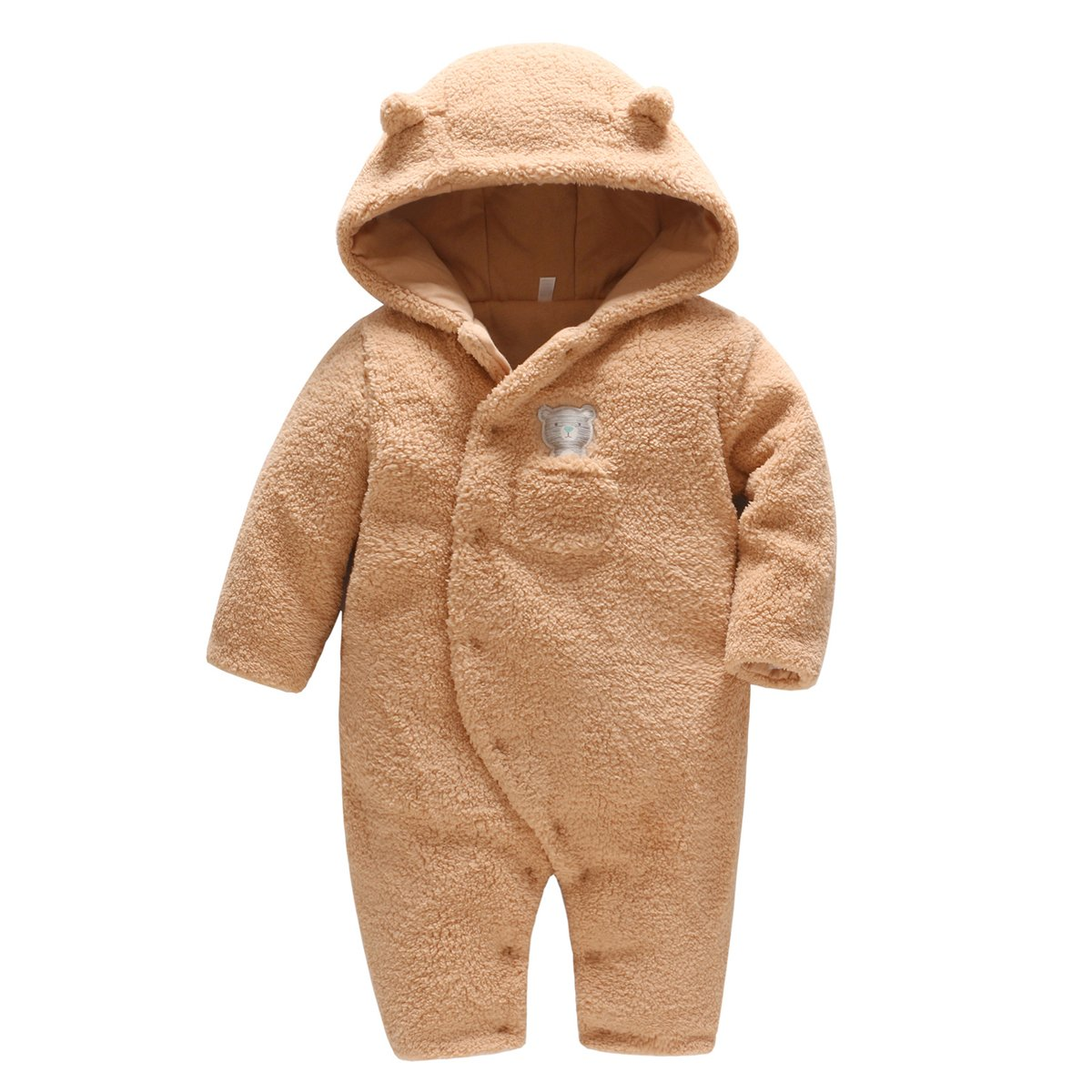 Newborn Baby Hooded Fleece Romper Snowsuit Infant Onesies Jumpsuit Fall Winter Outwear Outfits C170718MY001V