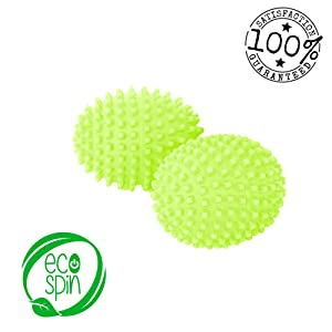DRYER BALLS by ECO SPIN (4 UNITS) Green Best Eco-Friendly Alternative for Natural Organic Wool Ball Sheets Fabric Softener Washing Soda - Easy to use Sensitive Skin Baby Clothes Laundry Static Clothes