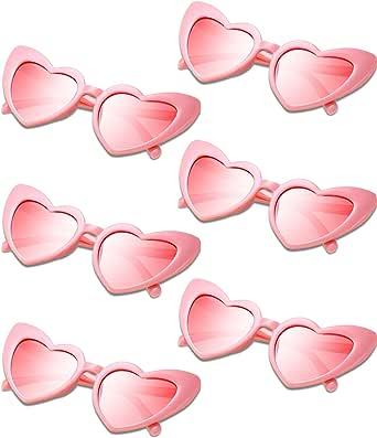 6 أزواج نظارات شمسية على شكل قلب عتيقة نظارات شمسية للنساء نظارات ريترو للتسوق والسفر إكسسوارات الحفلات