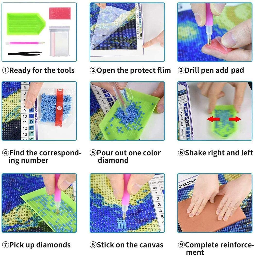 Fanxis Household DIY Beautiful Aurora Landscape Diamond Painting Kit Cross Stitch Kit Cross-Stitch