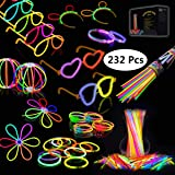 Josechan Pulseras Luminosas 100pcs de Fiesta 20cm 7 Colores con Conectores para Hacer Glow Sticks Pulseras, Collares, Kits para Crear Gafas Fiestas.