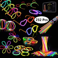 Josechan Pulseras Luminosas 200pcs de Fiesta 20cm 7 Colores con Conectores para Hacer Glow Sticks Pulseras, Collares, Kits para Crear Gafas Fiestas