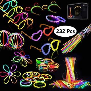Josechan Glow Sticks, 100PCS 8'' Bagliore colorato bastoni Bulk e connettori per Collana Bagliore, Palle di Fiori, Bicchieri Luminosi e Triple/Farfalla di bracciali (100pcs) 100PCS 8'' Bagliore colorato bastoni Bulk e connettori per Collana Baglior