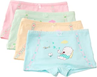 FAIRYRAIN Little Girls Kids Baby Toddler 4Pcs Cartoon Bear Travel Boyshort Underwear Boxers Briefs Panties