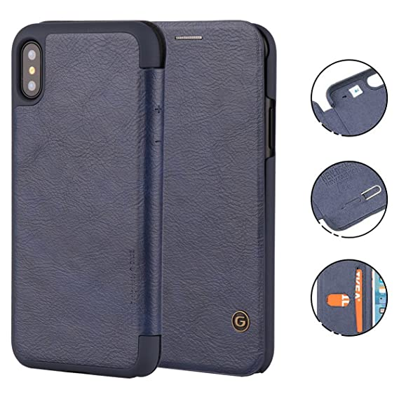 the best attitude 41cd7 93a71 iPhone X Case, G-CASE [Business] Ultra Slim Folio Flip Leather Wallet Case  360 Degree Full Body Protection Case Card Slot ID/Card/Cash Apple iPhone X  ...