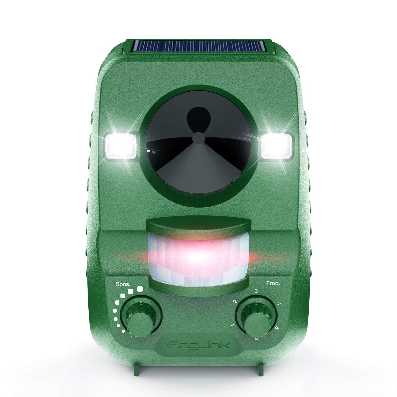 Ahuyentador de Gatos anglink Solar por ultrasonido contra funciona con batería y flash - Impermeable - Ahuyentador perros, martas (, ahuyentar, ...