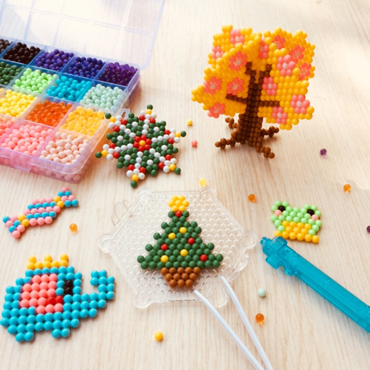Aqua water beads Beginners Studio perler fusion Craft beads Art Crafts toys for kids non toxic with bead palette, layout table, bead pen, bead peeler, sprayer, template sheets -15 colors(2400pcs) by QIAONIUNIU (Image #9)