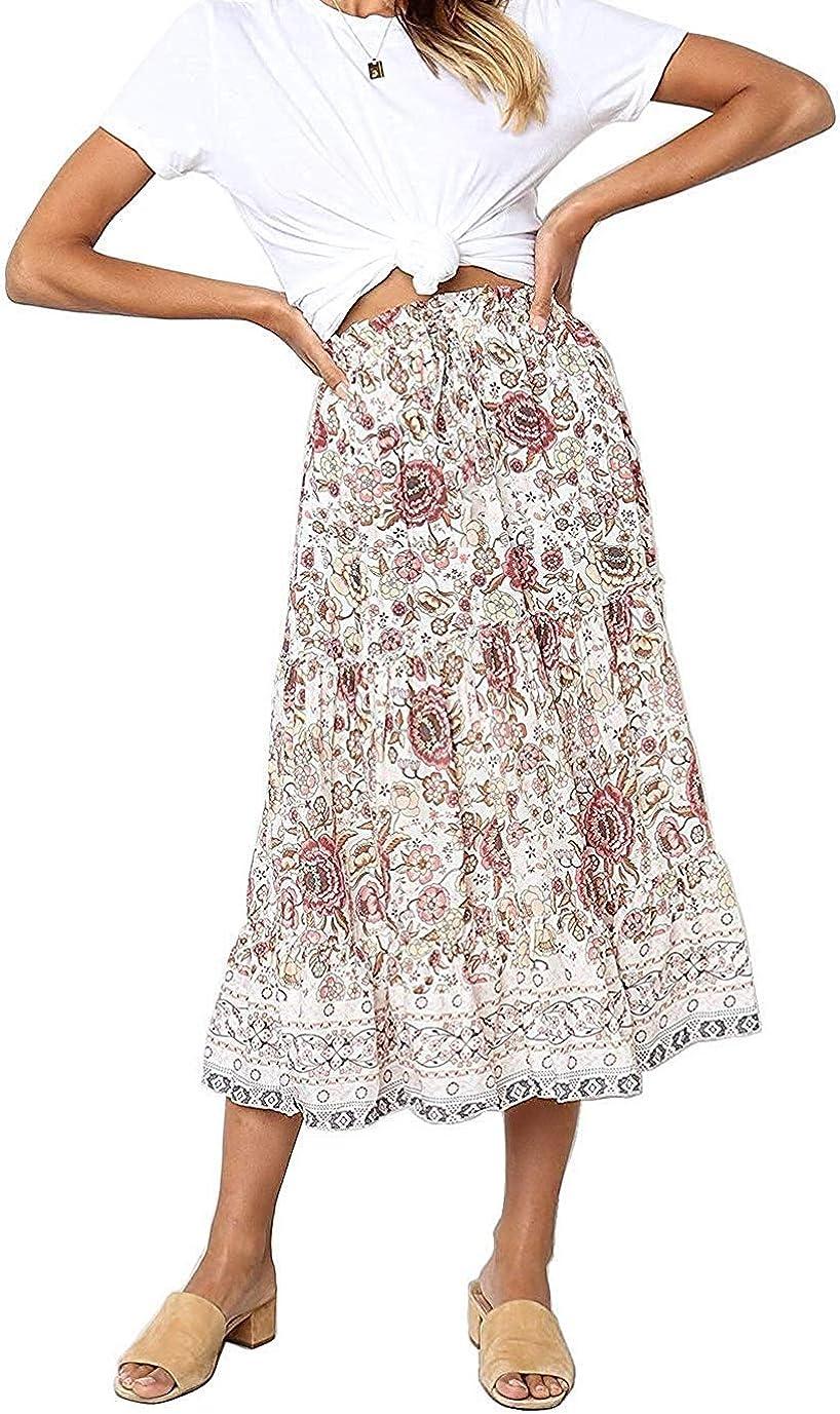 creative products Odosalii Womens Boho Floral Print Skirt Elastic ...
