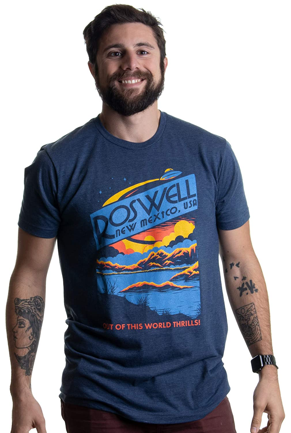 da1a7cec2 Amazon.com: Roswell, NM Tourism | Funny Alien Extraterrestrial UFO Saucer  Men Women T-Shirt: Clothing