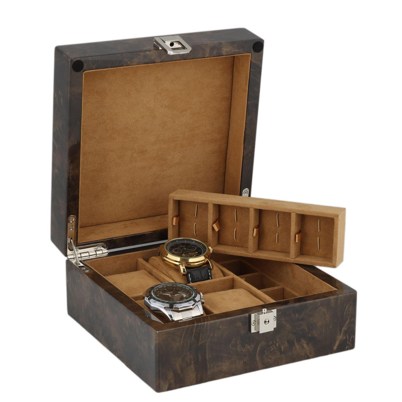 Armbanduhr und ManschettenknÖpfe Sammler Box 8 Paar ManschettenknÖpfe + 4 Handgelenk Uhren im Licht Wurzelholz mit