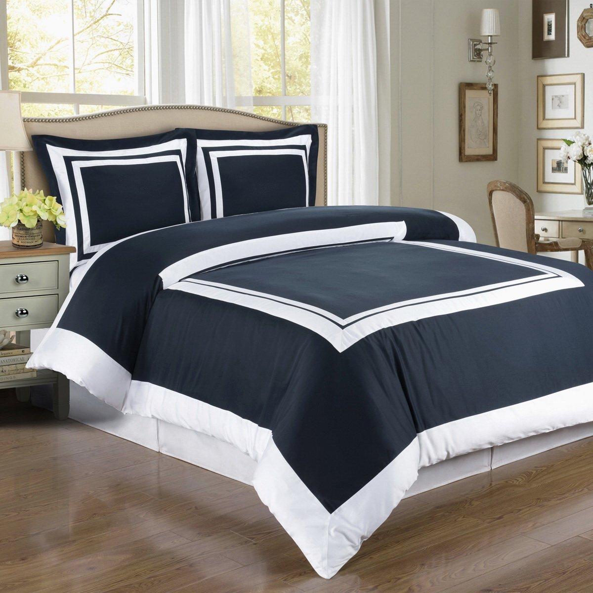 amazoncom duvet cover navy blue white border design pattern full queen double 100 egyptian cotton 3 piece bedding and shams pillowcases set home u0026 - White Duvet Cover Queen