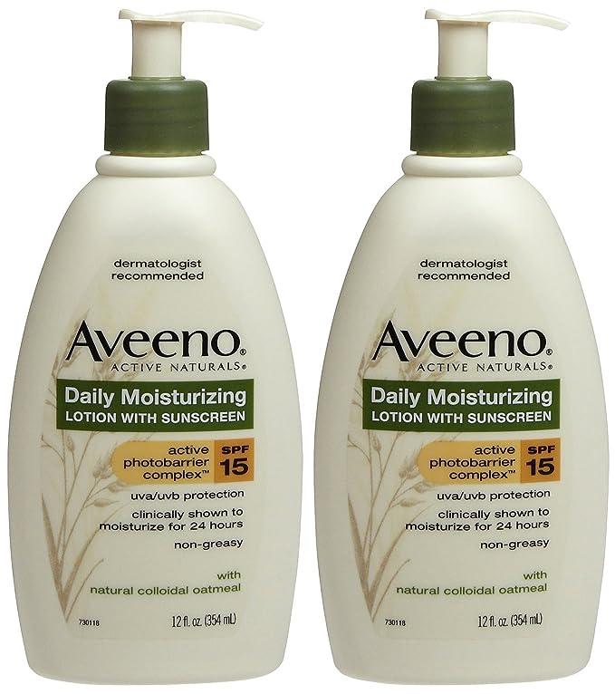 Aveeno Daily Moisturizing Lotion with Sunscreen, SPF 15 - 12 oz - 2 pk