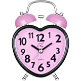 Alarm Clock for Kids, Silent Desk Travel Clock, Cute No Ticking Twin Bell Alarm Clock with Nightlight for Girls Bedrooms, Heavy Sleepers (Pink)