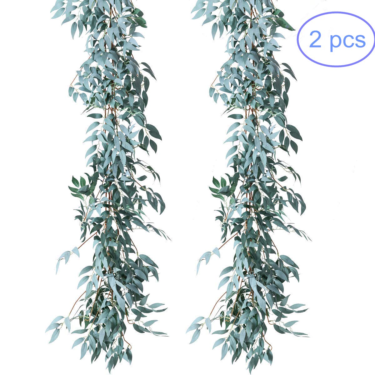 NANSSY 2 Pack Artificial Gray Greenery Garland Faux Silk Willow Leaves Vines Wreath for Wedding Decor, Party, Home Decor, Crowns Wreath (Gray Willow Leaves)