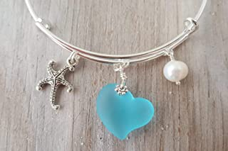"product image for Handmade in Hawaii,""Heart of the sea"" bracelet, Starfish charm, freshwater pearl, (Hawaii Gift Wrapped, Customizable Gift Message)"