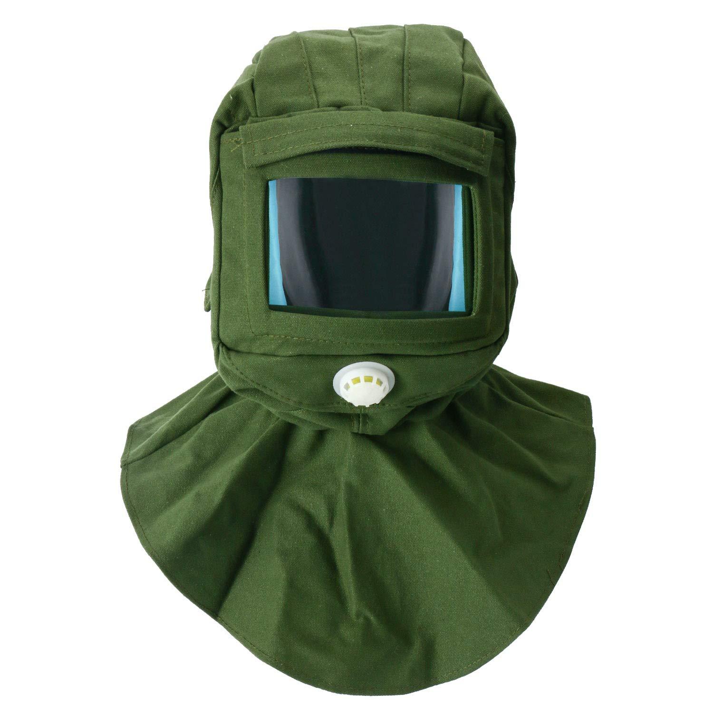 YaeTek Sand Blasting Hood Cap Shawl Cap Sandblaster Mask Anti-dust Hood Face Protective Gear Mask, Sandblaster Helmet,Canvas (Green Color)