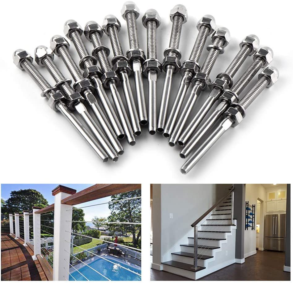20 Pack Cable Railing Swage Threaded Stud Tension End Fitting Terminal for 1//8 Cable Deck Railing Hand Swage T316 Stainless Steel Marine Grade