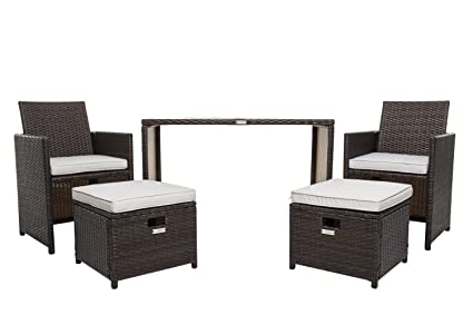 Merveilleux Wicker Patio Furniture Set, Chicreat 5 PC Set With Table Chairs And Ottomans  , Brown
