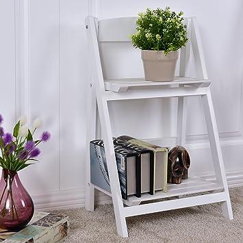 Costway Wood Ladder Shelf 2 Tier Flower Plant Pot Display Stand Garden Free  Standing Rack