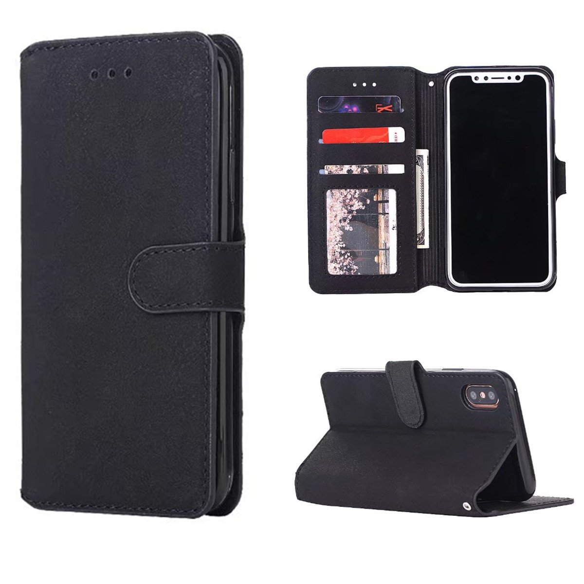 iPhone X Case, iPhone X Wallet Case, Genuine Leather Folio Flip Cover Stand Wallet Case with Business Card Holder for iPhone X (Black)