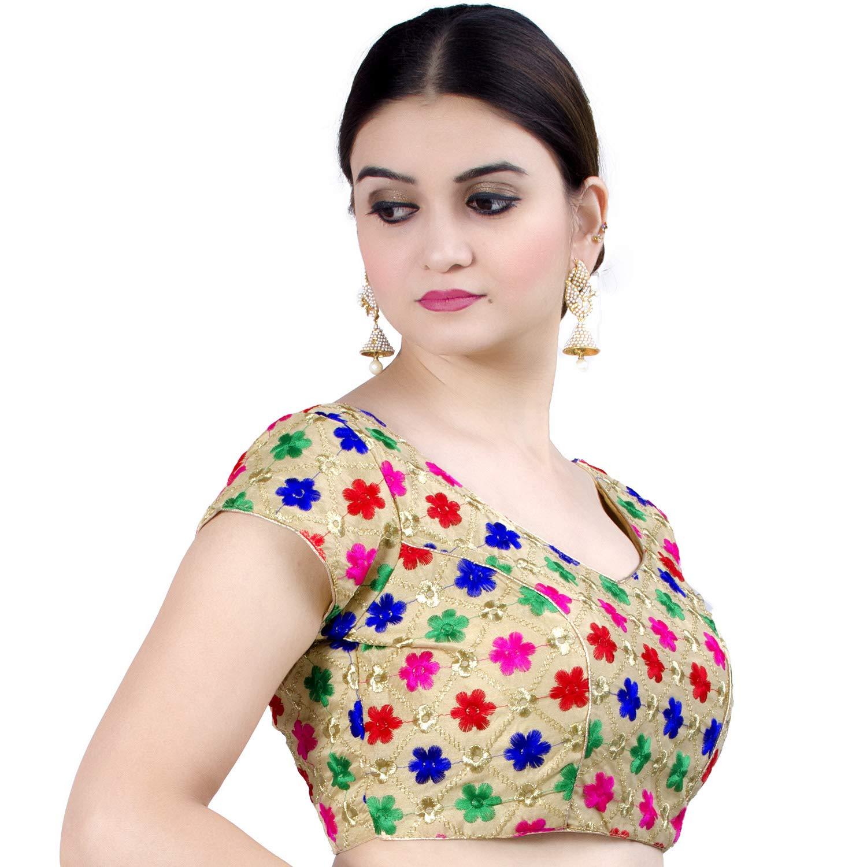 B108 Chandrakala Womens Party Wear Bollywood Readymade Indian Ethnic Saree Blouse Padded Resham Work Choli