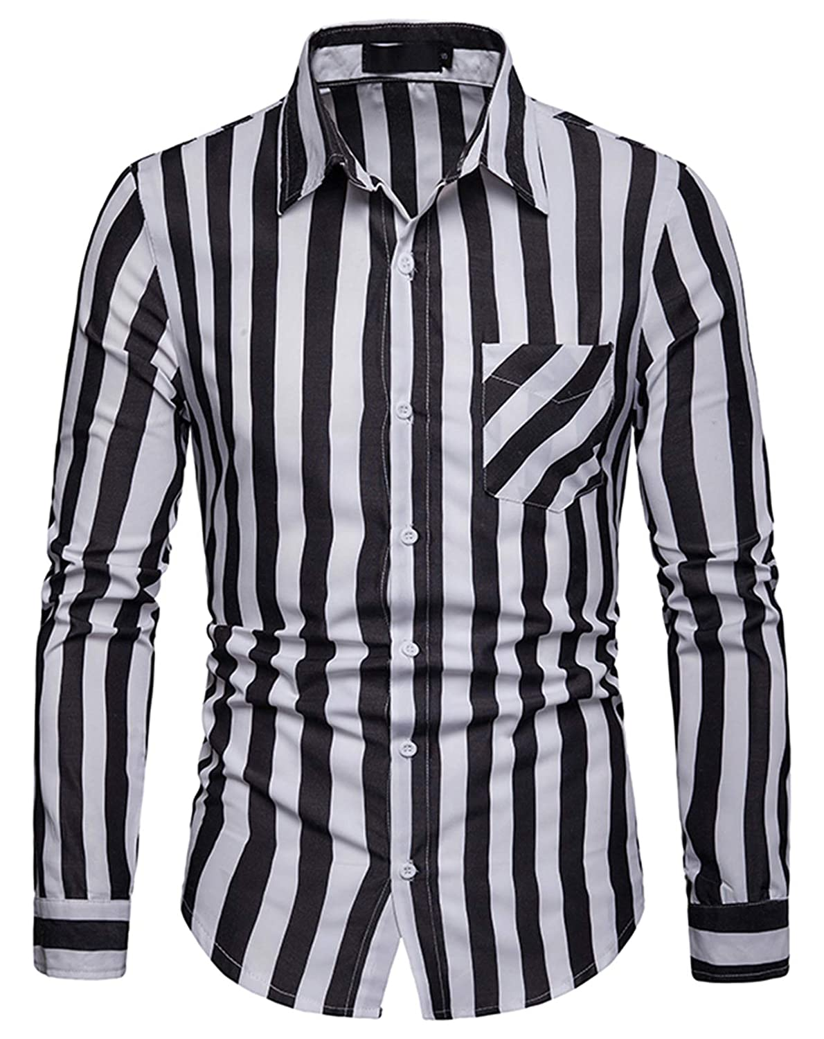 8e2a04d9364 Mens Black And White Striped Dress Shirts - DREAMWORKS