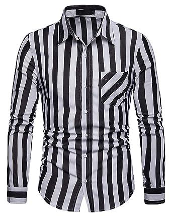 d379acdd73 WHATLEES Men's Long Sleeve Vertical Striped Casual Slim fit Button Down Dress  Shirt