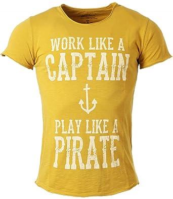 Key Largo Herren T-Shirt Captain mit Anker Print Motiv Vintage Look Tiefer  Rundhals Ausschnitt taillierte Körperbetonte Passform MT00123  Amazon.de   ... e3d3eb252c