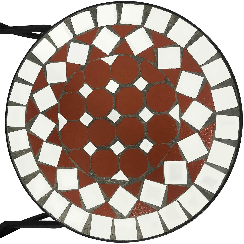 Dise/ño a Elegir de balc/ón Juego de 2 46 cm de Altura del Asiento Rettangolare Nova Sillas de Mosaico Redondas Plegables Bistro de Exterior de jard/ín marr/ón y Negro Beige-Bianco-Nero
