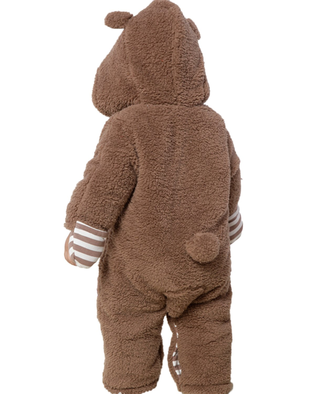 Kidsform Infant Winter Snowsuit Baby Bear Hoodie Romper Outfit Fleece Bunting Pram Suit Outerwear Coat Coveralls 0-24M Brown 3-6M by Kidsform (Image #3)