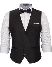 PAUL JONES Men's Business Suit Vests Slim Fit 3 Button Formal Waistcoat