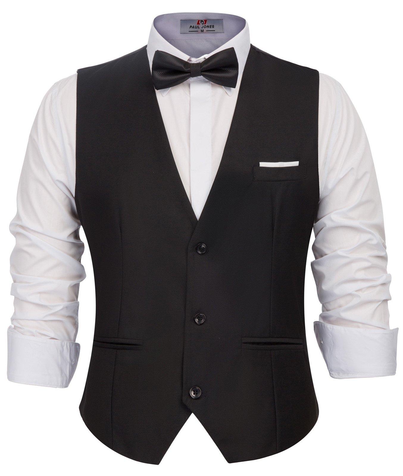 Men's Classic Formal Dress Vest Sleeveless 3-Buttons Suit Vest Black, Small by PAUL JONES