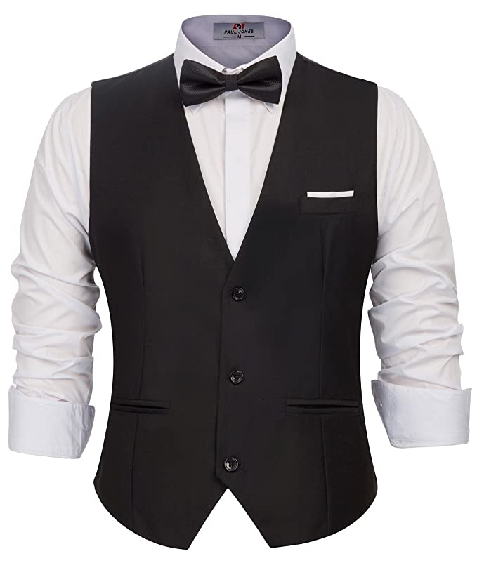 New Vintage Tuxedos, Tailcoats, Morning Suits, Dinner Jackets PAUL JONES Mens Business Suit Vests Slim Fit 3 Button Formal Waistcoat $24.99 AT vintagedancer.com