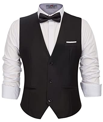 c4350375ed3 PAUL JONES Men s Classic Formal Dress Vest Sleeveless 3-Buttons Suit Vest