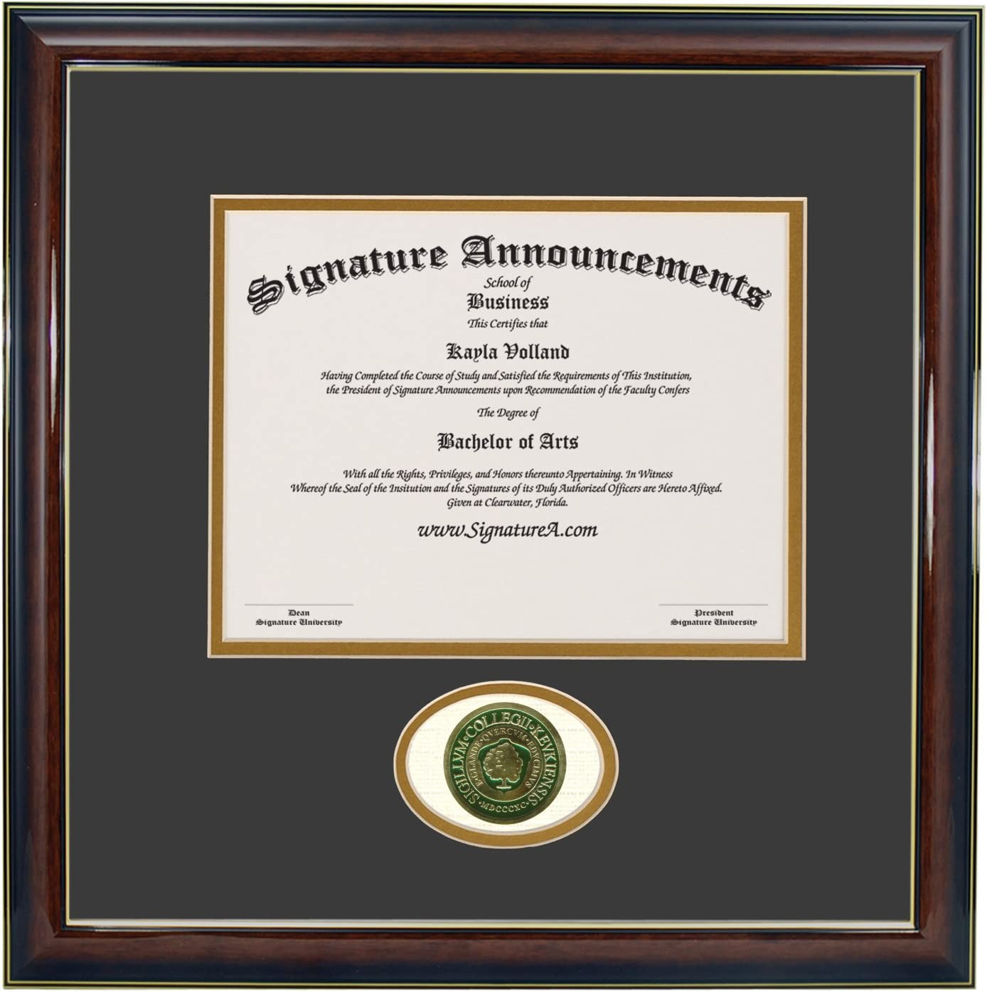 Signature Announcements Keuka-College Sculpted Foil Seal Graduation Diploma Frame 16 x 16 Gold Accent Gloss Mahogany